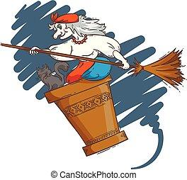 baba, illustration., morteiro, voando, dia das bruxas, yaga, gato, vovó, russo, witch., caricatura, night., cabo vassoura