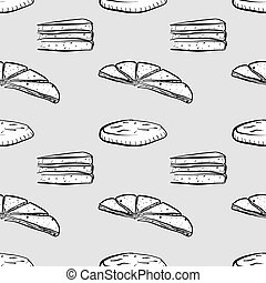 Baba seamless pattern greyscale drawing