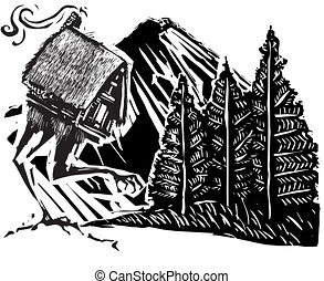 Baba Yaga's Hut in a forest walking on mountain path