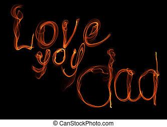 babbo, amore, card., fuoco, padri, augurio, illustrazione, sfondo nero, lei, lettering., giorno
