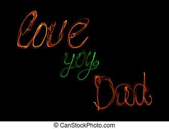 babbo, amore, card., fuoco, padri, augurio, illustrazione, sfondo verde, arancia, nero, lei, lettering., giorno