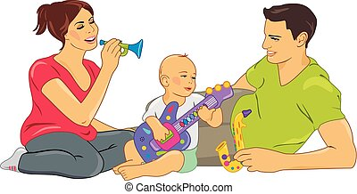 babbo, bambino, gioco, mamma