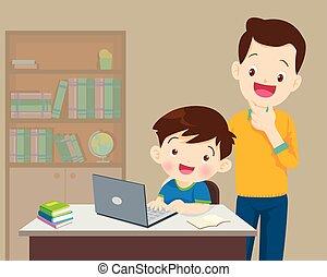 babbo, essere, ragazzo, laptop, qualcosa, bambini, felice