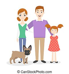 babbo, figlia, famiglia, vettore, portrait., mamma
