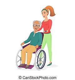 babbo, figlia, illustration., sano, positivo, carrozzella, lavoratore, isolato, anziano, giovane, invalido, vettore, femmina, sociale, sorridente, nonno, o, cura, volerci