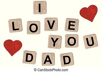 babbo, iscrizione, amore, blocchi legno, lei, ortografia