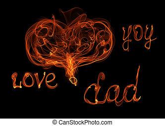babbo, iscrizione, amore, card., fuoco, padri, augurio, illustrazione, sfondo nero, heart., lei, giorno