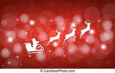 babbo natale, cavalcate, in, uno, sleigh, in, bardatura, su, il, renna