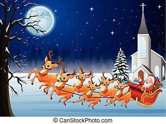babbo natale, cavalcate, renna, sleigh, davanti, chiesa, in, natale, notte