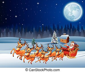 babbo natale, cavalcate, renna, sleigh, in, natale, notte