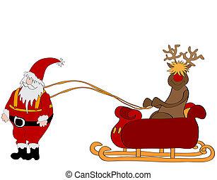 babbo natale, con, sleigh