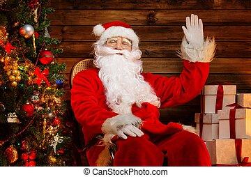 Campana Poco Suo Seduta Legno Claus Mano Santa