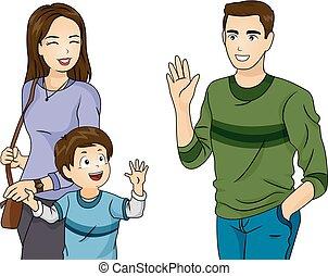 babbo, ragazzo, illustrazione, mamma, ciao, capretto