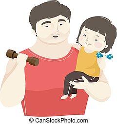 babbo, ragazzo, pesi, illustrazione, capretto