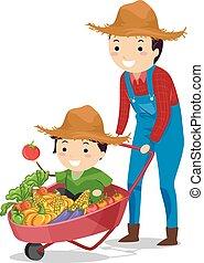 babbo, ragazzo, stickman, famiglia, contadino, raccogliere