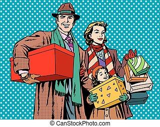 babbo, shopping, famiglia, mamma, ragazza, felice