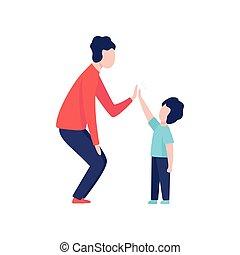 babbo, suo, dare, ciascuno, padre, illustrazione, figlio, alto, altro, buono, vettore, cinque, tempo, detenere, capretto