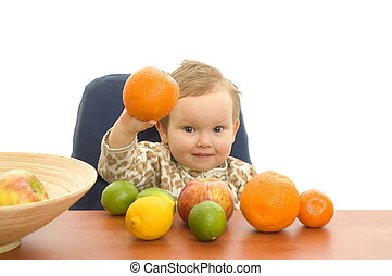 Babby and fruits