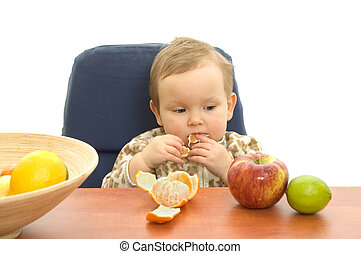 babby, mangiare, frutta