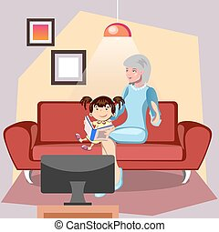 babcia, granddaughter., książka, czytanie, jej