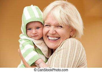babcia, jej, wnuk, szczęśliwy