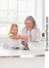 babcia, szczęśliwy, wnuczka, opierunek wręcza