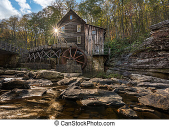 Babcock grist mill in West Virginia - Waterwheel and old...