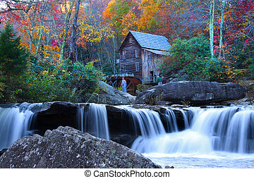 Babcock state park in West Virginia in autumn time