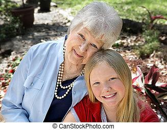 babička, i kdy, dítě, do, zahrada