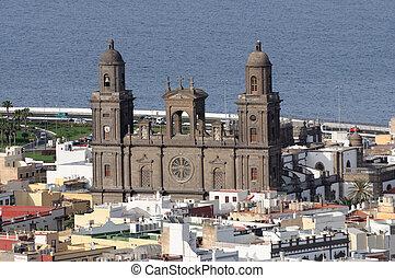 babička, palmas, k, santa, katedrála, ana, las, španělsko, canaria
