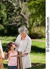 babička, vnučka, ji, p