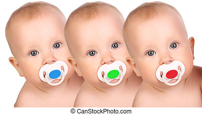 Babies - adorable little babies. Over white background