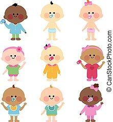 babies., anders, vector, groep, illustratie