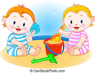 Babies at the beach - Two little babies playing at the beach