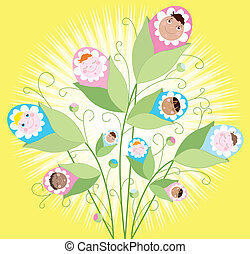 Babies grow - Illustration of a babies growing on a buch