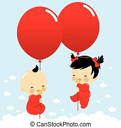 Babies holding balloons and flying in the sky. Vector illustration