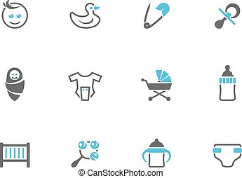 Babies icons in duo tone colors.