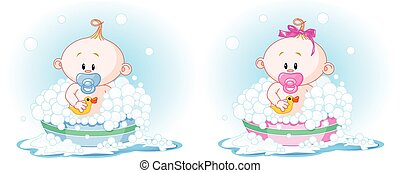 Babies in Bath - Cute Babies (boy and girl) taking a bath
