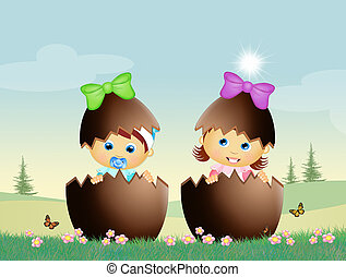 babies in the chocolate eggs - illustration of babies in the...