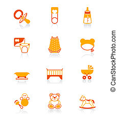 Babies object icons | JUICY series - Newborn and first years...