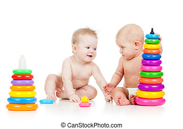 babies play with color developmental toys
