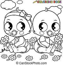 Babies playing outside. Black and white coloring book page.
