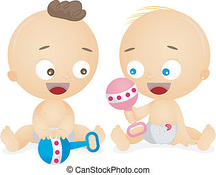 Babies Playing with Rattle - Illustration of Happy Male and...