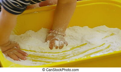 Babies Playing with White Flour - Children playing with...