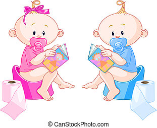Little babies girl and boy are sitting on potties with open books
