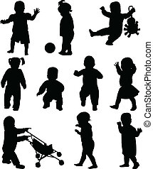 Babies silhouettes collection - vector