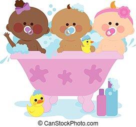 Babies taking a bath