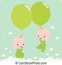 Babies with balloons. Vector illustration