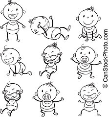 Babies with different moods - Illustration of the babies...