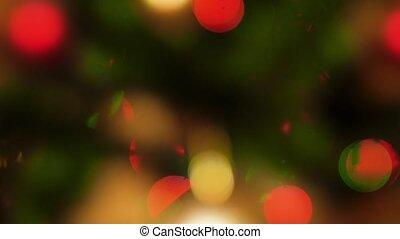 babioles, 4k, vidéo, incandescent, fetes, lumières, parfait, hiver, résumé, panoramique, dehors, christamas, fond, arbre., célébrations, ton, noël, foyer
